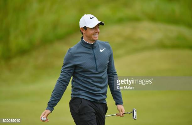 Rory McIlroy of Northern Ireland smiles on the 2nd green during the second round of the 146th Open Championship at Royal Birkdale on July 21 2017 in...