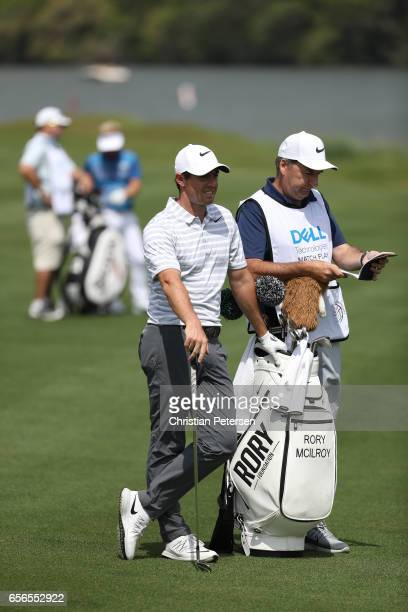 Rory McIlroy of Northern Ireland stands on the 14th hole of his match during round one of the World Golf ChampionshipsDell Technologies Match Play at...