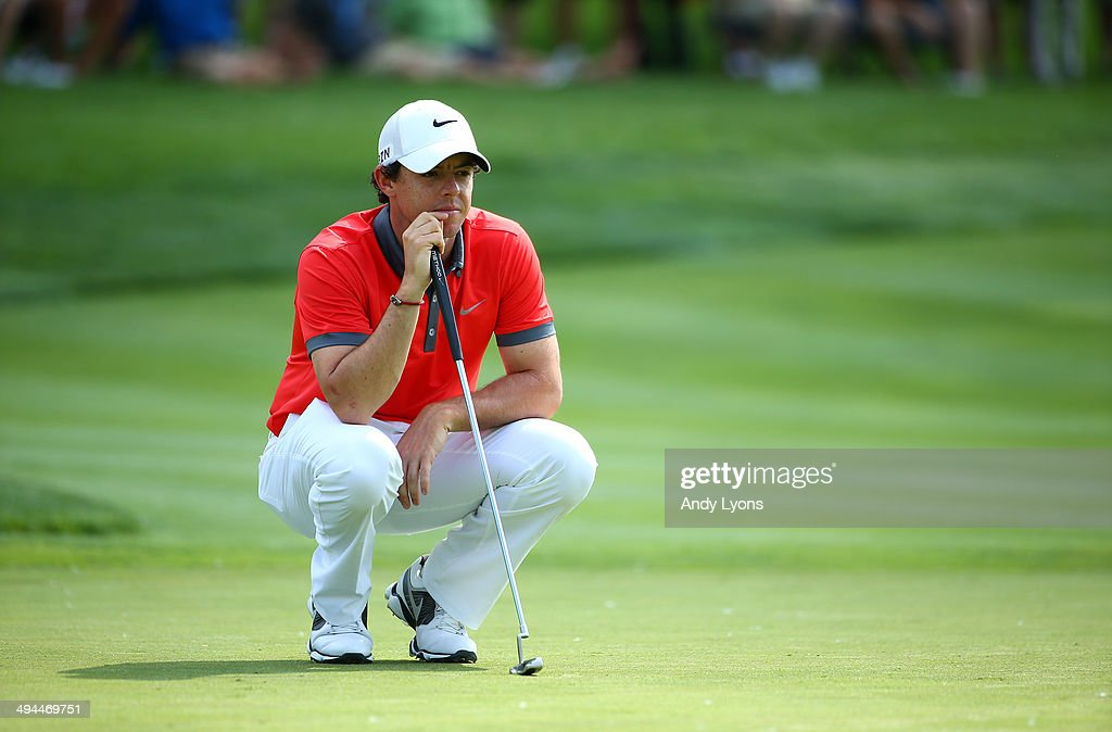 <a gi-track='captionPersonalityLinkClicked' href=/galleries/search?phrase=Rory+McIlroy&family=editorial&specificpeople=783109 ng-click='$event.stopPropagation()'>Rory McIlroy</a> of Northern Ireland studies the 13th green during the first round of the Memorial Tournament presented by Nationwide Insurance at Muirfield Village Golf Club on May 29, 2014 in Dublin, Ohio.