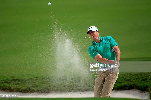 Rory McIlroy of Northern Ireland takes his third shot on the first hole during the third round of the World Golf ChampionshipsCadillac Championship...