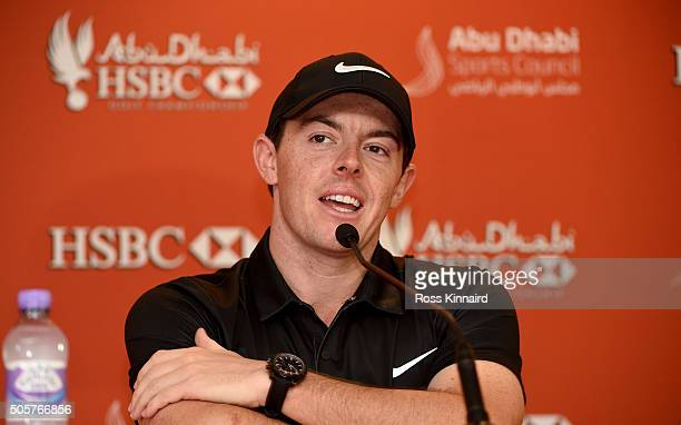 Rory McIlroy of Northern Ireland talikng to the press during the proam event prior to the Abu Dhabi HSBC Golf Championship at the Abu Dhabi Golf Club...