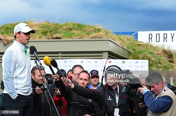 Rory McIlroy of Northern Ireland talking to the media after finishing his round and missing the cut during the second round of the Dubai Duty Free...
