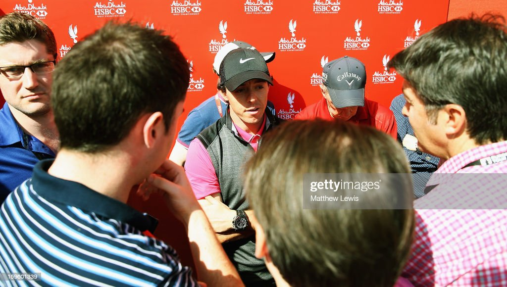 Rory McIlroy of Northern Ireland talks to the media, after his round today during day one of the Abu Dhabi HSBC Golf Championship at Abu Dhabi Golf Club on January 17, 2013 in Abu Dhabi, United Arab Emirates.