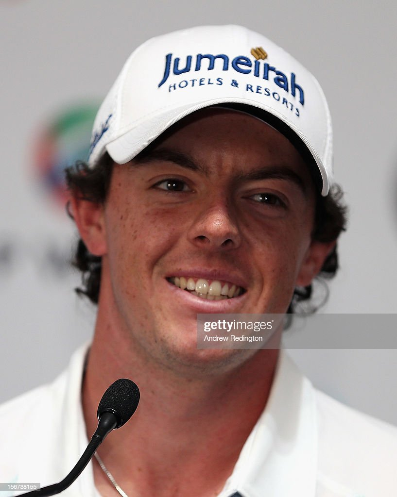 Rory McIlroy of Northern Ireland talks to the media during a press conference prior to the start of the Dubai World Championship on the Earth Course at Jumeirah Golf Estates on November 20, 2012 in Dubai, United Arab Emirates.
