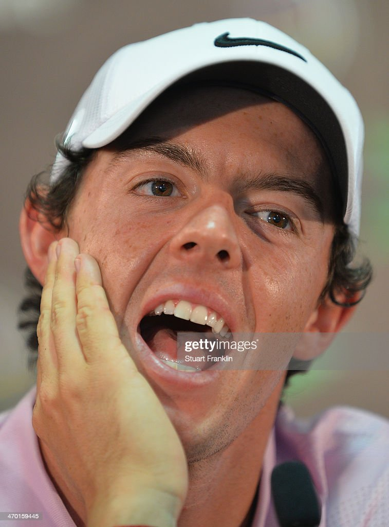 Rory McIlroy of Northern Ireland talks to the media during a press conference after practice prior to the start of the World Golf Championships...