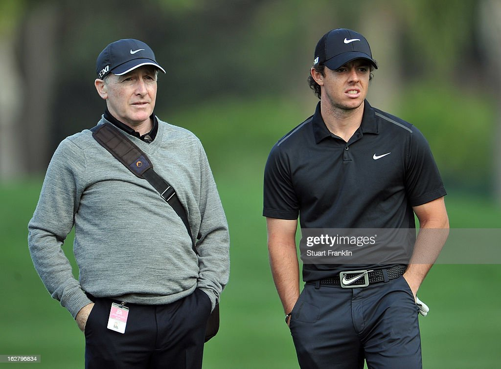 Rory McIlroy of Northern Ireland talks with his coach Michael Bannon during the pro am of the Honda Classic at PGA National on February 27, 2013 in Palm Beach Gardens, Florida.