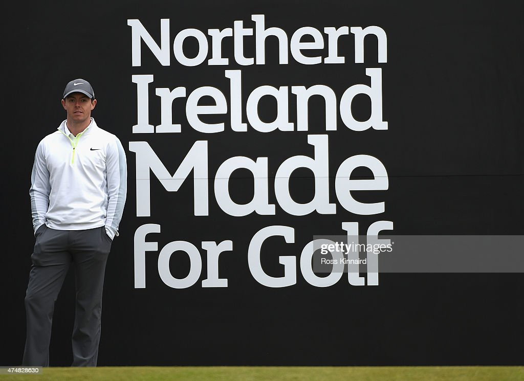 Rory McIlroy of Northern Ireland tees looks down the 1st hole during the Pro-Am round prior to the Irish Open at Royal County Down Golf Club on May 27, 2015 in Newcastle, Northern Ireland.