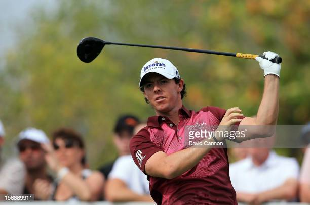 Rory McIlroy of Northern Ireland tees off at the par 5 second hole during the third round of the 2012 DP World Tour Championship on the Earth Course...