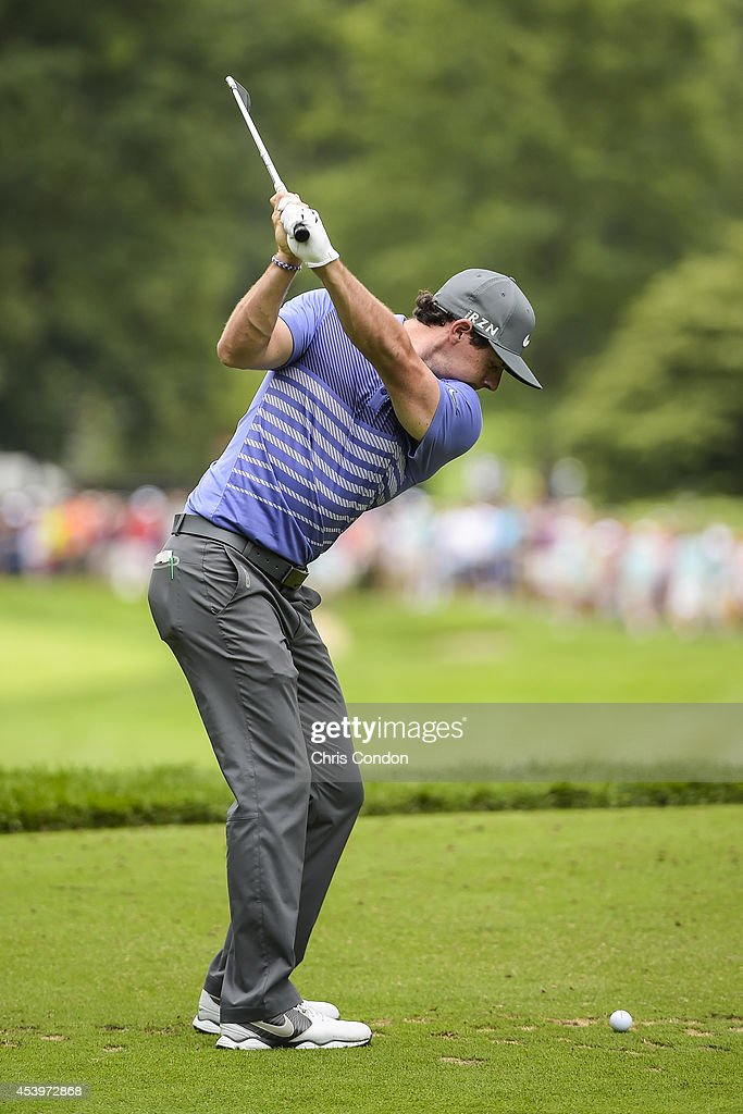 Rory McIlroy of Northern Ireland tees off on the 10th hole during the second round of The Barclays at Ridgewood Country Club on August 22, 2014 in Paramus, New Jersey.