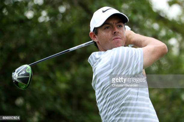 Rory McIlroy of Northern Ireland tees off on the 12th hole of his match during round one of the World Golf ChampionshipsDell Technologies Match Play...