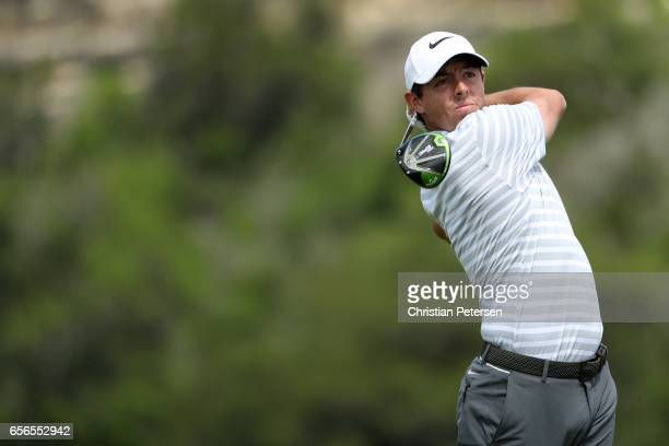 Rory McIlroy of Northern Ireland tees off on the 13th hole of his match during round one of the World Golf ChampionshipsDell Technologies Match Play...