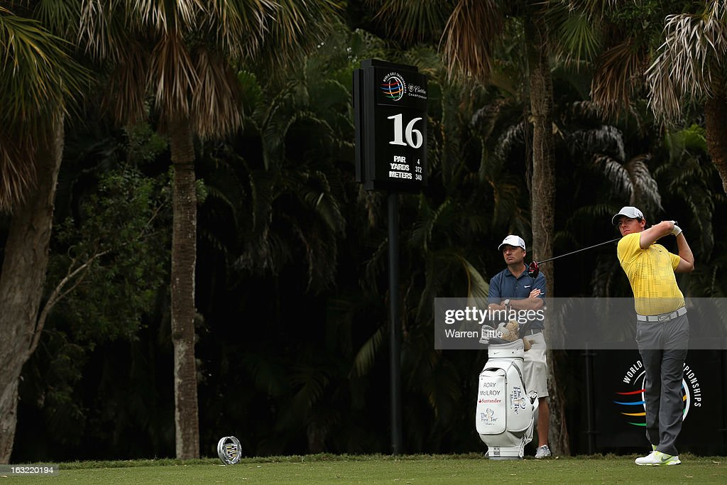 Rory McIlroy of Northern Ireland tees off on the 16th hole during a practice round ahead of the WGC - Cadillac Championship at the Doral Golf Resort & Spa on March 6, 2013 in Miami, Florida.