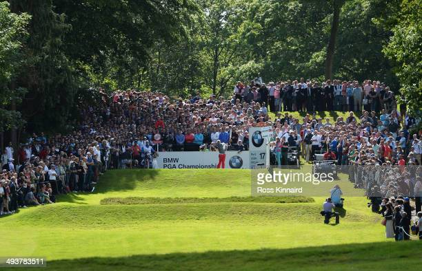 Rory McIlroy of Northern Ireland tees off on the 17th hole during day four of the BMW PGA Championship at Wentworth on May 25 2014 in Virginia Water...