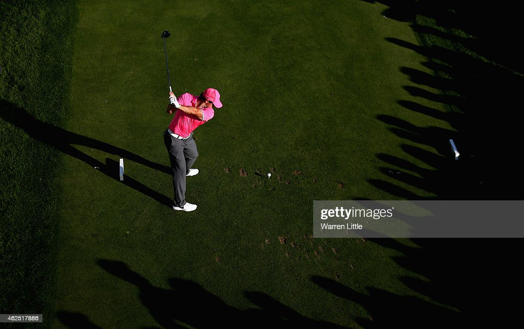 Rory McIlroy of Northern Ireland tees off on the 17th hole during the second round of the Omega Dubai Desert Classic on the Majlis Course at the...