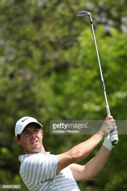 Rory McIlroy of Northern Ireland tees off on the 17th hole of his match during round one of the World Golf ChampionshipsDell Technologies Match Play...