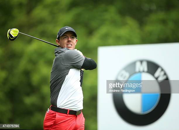 Rory McIlroy of Northern Ireland tees off on the 3rd hole during day 2 of the BMW PGA Championship at Wentworth on May 22 2015 in Virginia Water...