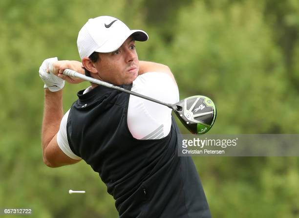 Rory McIlroy of Northern Ireland tees off on the 3rd hole of his match during round three of the World Golf ChampionshipsDell Technologies Match Play...