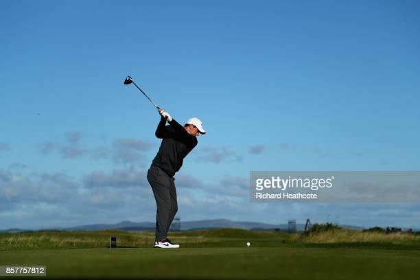 Rory McIlroy of Northern Ireland tees off on the 4th during day one of the 2017 Alfred Dunhill Championship at The Old Course on October 5 2017 in St...