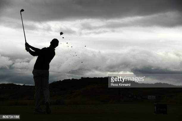 Rory McIlroy of Northern Ireland tees off on the 6th hole during day one of the Dubai Duty Free Irish Open at Portstewart Golf Club on July 6 2017 in...