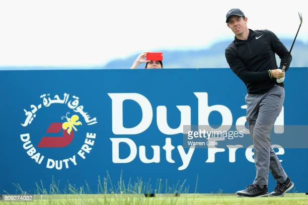 Rory Mcilroy of Northern Ireland tees off on the 8th during the ProAm of the Dubai Duty Free Irish Open at Portstewart Golf Club on July 5 2017 in...