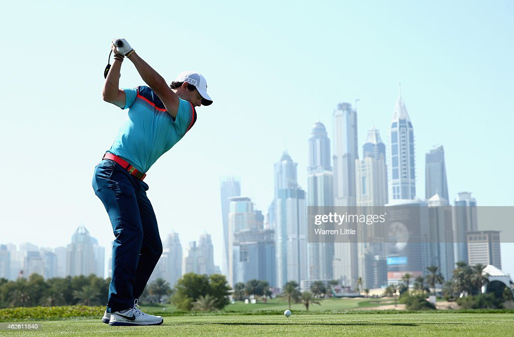 Rory McIlroy of Northern Ireland tees off on the eighth hole during the final round of the Omega Dubai Desert Classic on the Majlis Course at the...