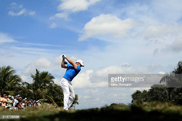 Rory McIlroy of Northern Ireland tees off on the fifth hole during the second round of the World Golf ChampionshipsCadillac Championship at Trump...