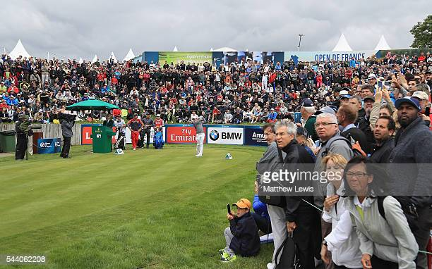 Rory McIlroy of Northern Ireland tees off on the first hole during day two of the 100th Open de France at Le Golf National on July 1 2016 in Paris...