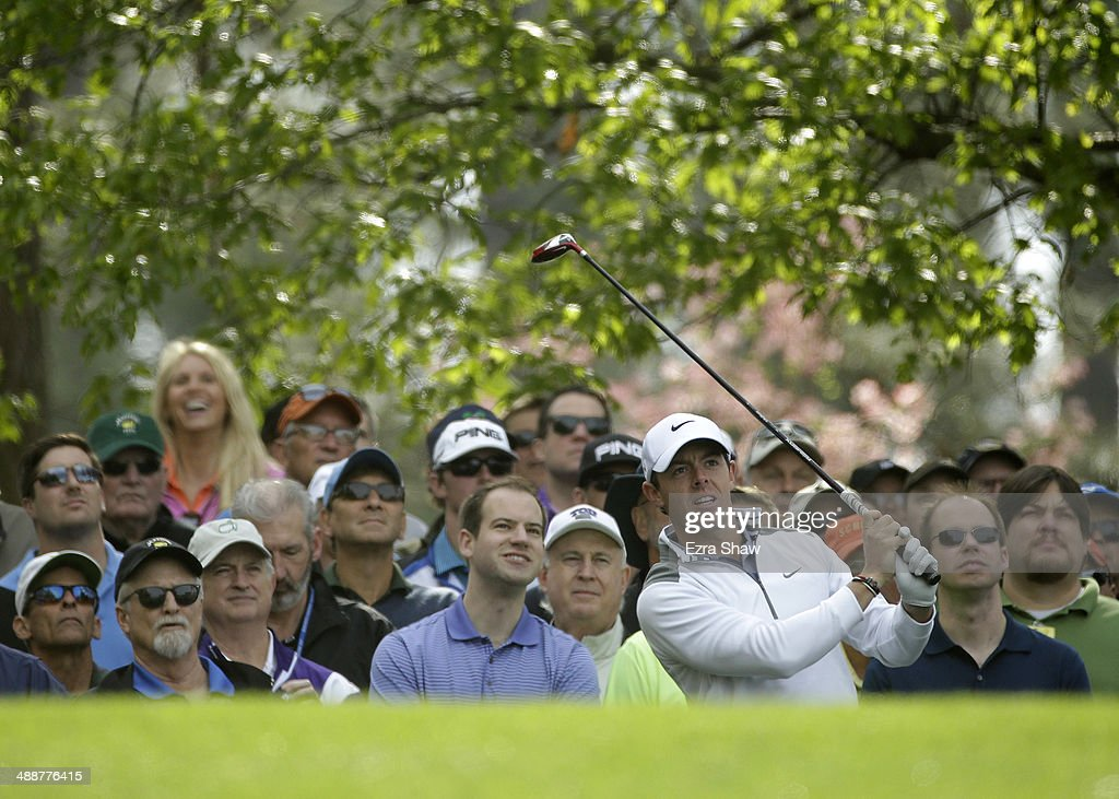 Rory McIlroy of Northern Ireland tees off on the fourth hole during a practice round at Augusta National Golf Club on April 8, 2014 in Augusta, Georgia.