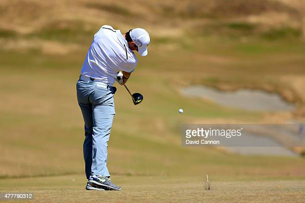 Rory McIlroy of Northern Ireland tees off on the fourth hole during the second round of the 115th US Open Championship at Chambers Bay on June 19...