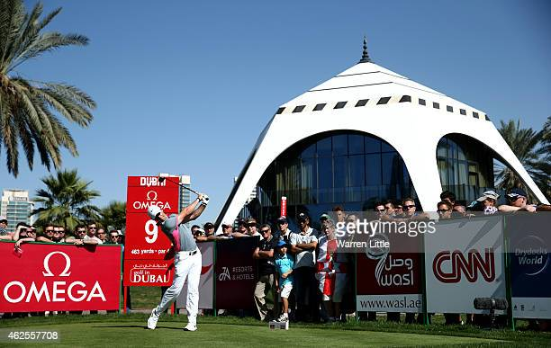 Rory McIlroy of Northern Ireland tees off on the ninth hole during the third round of the Omega Dubai Desert Classic on the Majlis Course at the...