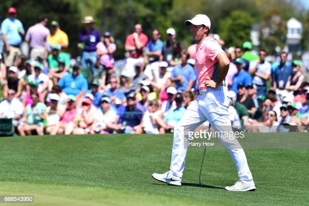 Rory McIlroy of Northern Ireland waits on the second hole during the final round of the 2017 Masters Tournament at Augusta National Golf Club on...
