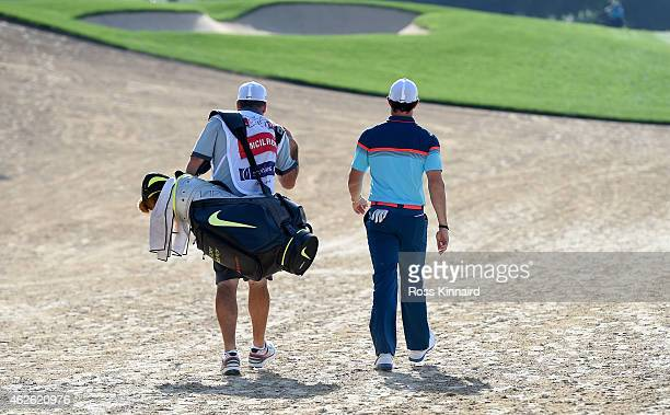 Rory McIlroy of Northern Ireland walking off of the 14th tee during the final round of the Omega Dubai Desert Classic at the Emirates Golf Club on...