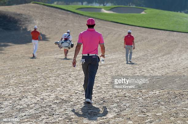 Rory McIlroy of Northern Ireland walks off of the 14th tee during the second round of the Omega Dubai Desert Classic at the Emirates Golf Club on...