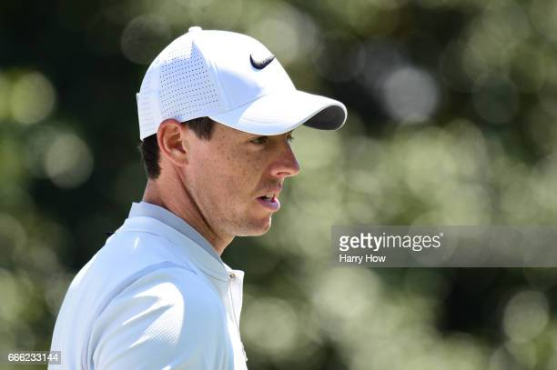 Rory McIlroy of Northern Ireland walks off the first green during the third round of the 2017 Masters Tournament at Augusta National Golf Club on...