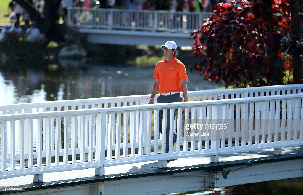 Rory McIlroy of Northern Ireland walks off the ninth hole during the second round of the World Golf Championships-Cadillac Championship at the Trump Doral Golf Resort & Spa on March 8, 2013 in Doral, Florida.
