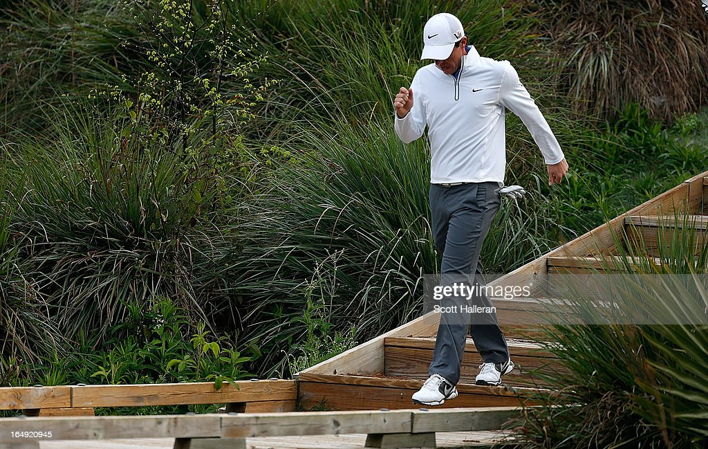 Rory McIlroy of Northern Ireland walks off the tenth tee during the second round of the Shell Houston Open at the Redstone Golf Club on March 29 2013...