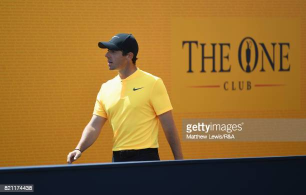 Rory McIlroy of Northern Ireland walks out to the 1st tee during the final round of the 146th Open Championship at Royal Birkdale on July 23 2017 in...