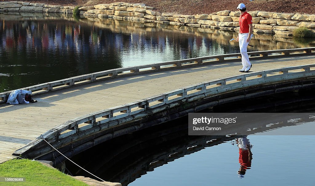 Rory McIlroy of Northern Ireland walks to the green at the par 3, 17th hole during the final round of the 2012 DP World Tour Championship on the Earth Course at Jumeirah Golf Estates on November 25, 2012 in Dubai, United Arab Emirates.