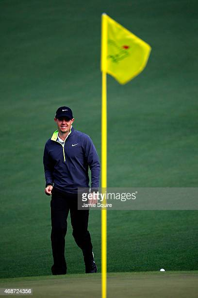 Rory McIlroy of Northern Ireland walks up to the green during a practice round prior to the start of the 2015 Masters Tournament at Augusta National...