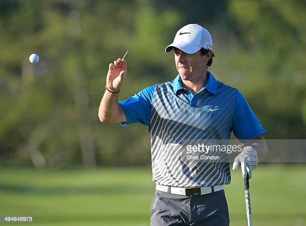 Rory McIlroy of Northern Ireland warms up on the range during the second round of the Memorial Tournament presented by Nationwide Insurance at...