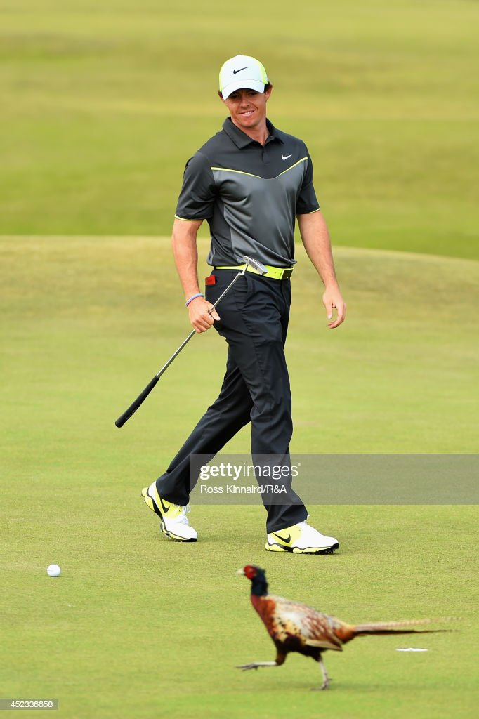 <a gi-track='captionPersonalityLinkClicked' href=/galleries/search?phrase=Rory+McIlroy&family=editorial&specificpeople=783109 ng-click='$event.stopPropagation()'>Rory McIlroy</a> of Northern Ireland watches as a pheasant walks across the 8th hole green as he prepares to putt for a birdie during the second round of The 143rd Open Championship at Royal Liverpool on July 18, 2014 in Hoylake, England.