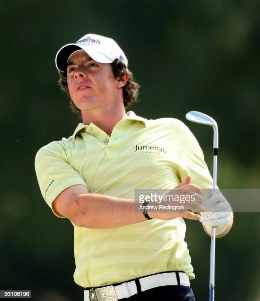 Rory McIlroy of Northern Ireland watches his approach shot on the 15th hole during the Pro Am prior to the start of the Dubai World Championship on...