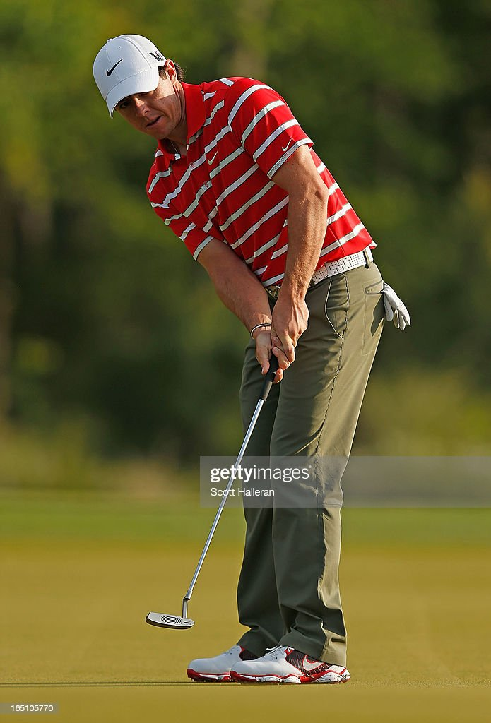 Rory McIlroy of Northern Ireland watches his birdie putt on the second hole during the third round of the Shell Houston Open at the Redstone Golf Club on March 30, 2013 in Humble, Texas.