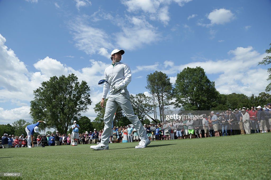 Rory McIlroy of Northern Ireland watches his tee shot on the eighth hole during the second round of the Wells Fargo Championship at Quail Hollow Club on May 6, 2016 in Charlotte, North Carolina.