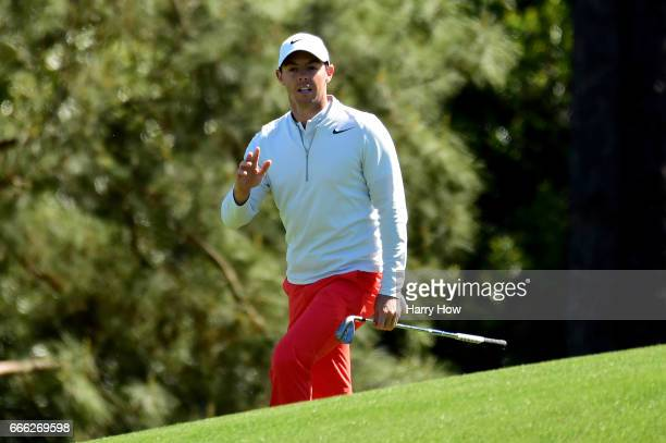Rory McIlroy of Northern Ireland waves on the second hole during the third round of the 2017 Masters Tournament at Augusta National Golf Club on...