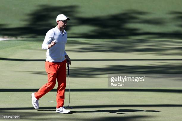Rory McIlroy of Northern Ireland waves on the tenth hole during the third round of the 2017 Masters Tournament at Augusta National Golf Club on April...