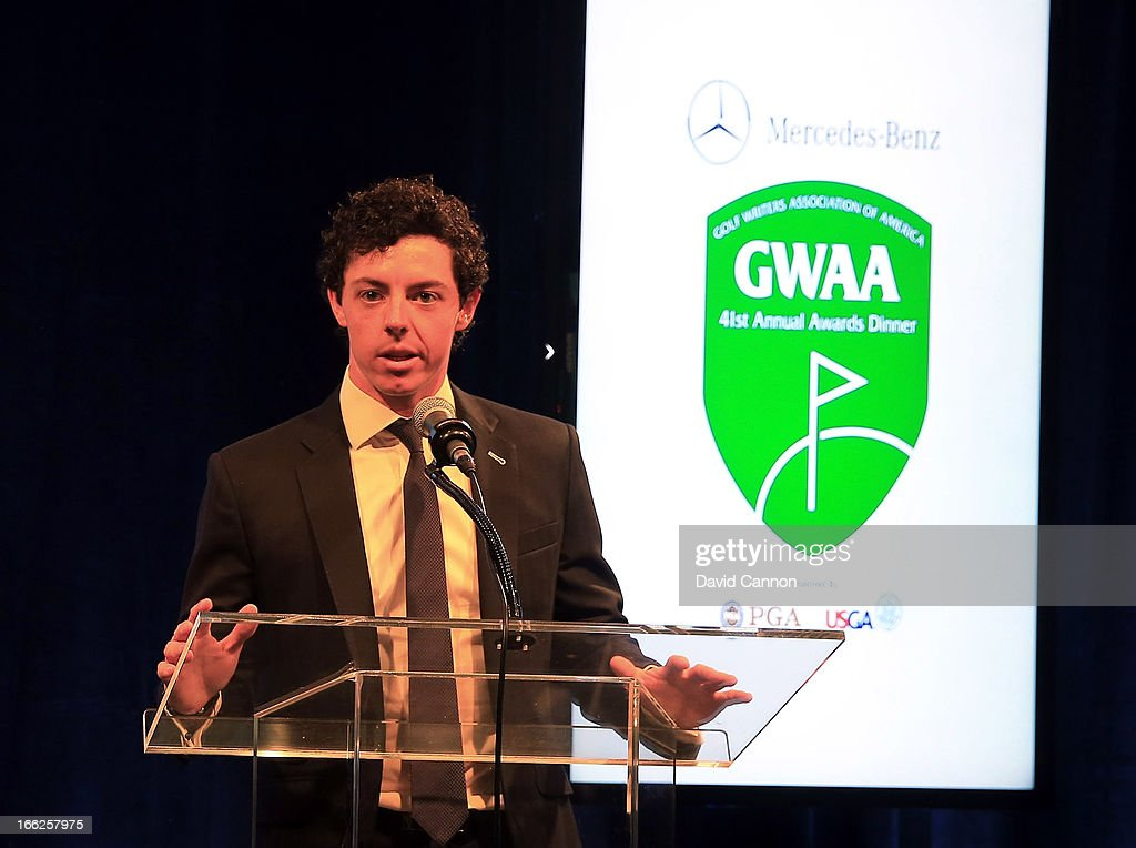 <a gi-track='captionPersonalityLinkClicked' href=/galleries/search?phrase=Rory+McIlroy&family=editorial&specificpeople=783109 ng-click='$event.stopPropagation()'>Rory McIlroy</a> of Northern Ireland, who received the 2012 Male Player of the Year Award, speaks during the 41st Annual Awards Dinner of the Golf Writers Association of America at The Savannah Rapids Pavillion during the 2013 Masters Tournament at Augusta National Golf Club on April 10, 2013 in Augusta, Georgia.