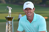 Rory McIlroy of Northern Ireland with the Race to Dubai trophy after the final round of the DP World Tour Championship at Jumeirah Golf Estates on...