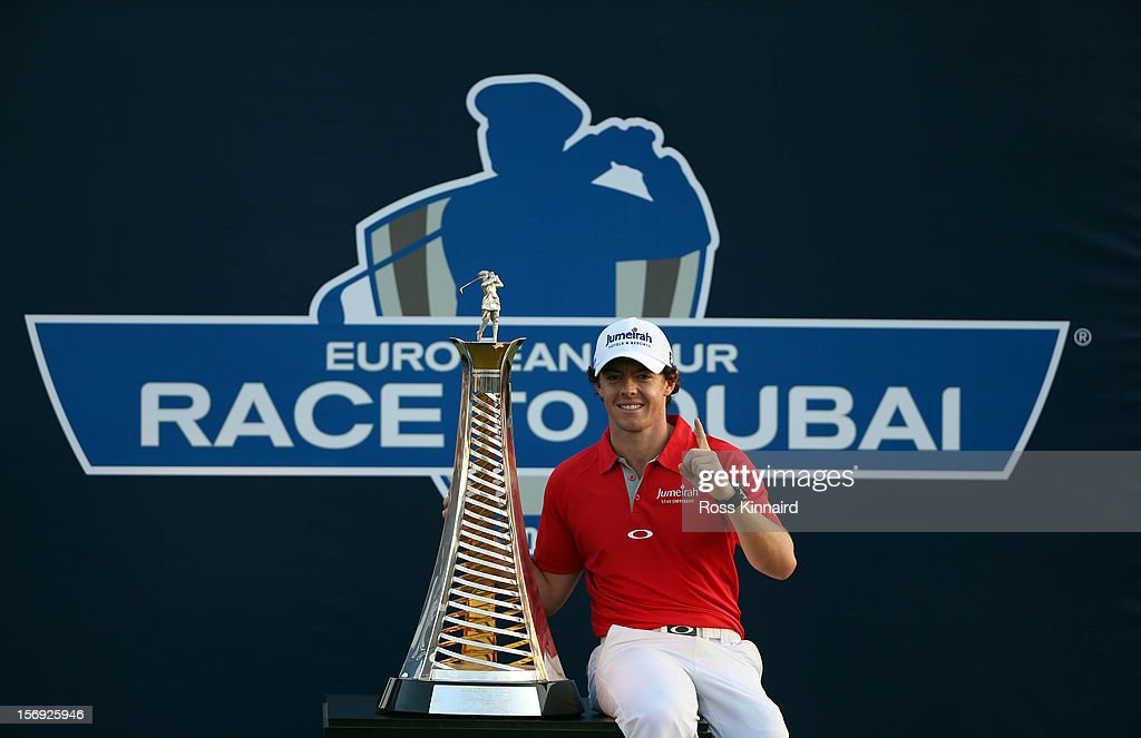 Rory McIlroy of Northern Ireland with The Race to Dubai trophy on the 18th green after the final round of the DP World Tour Championship on the Earth Course at Jumeirah Golf Estates on November 25, 2012 in Dubai, United Arab Emirates.