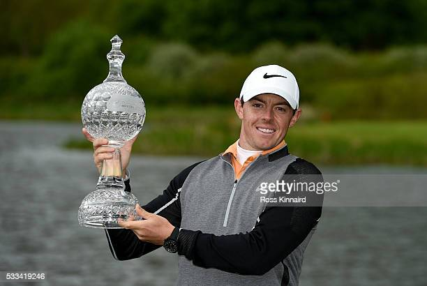 Rory McIlroy of Northern Ireland with the winners trophy the final round of The Dubai Duty Free Irish Open hosted by the Rory Foundation at the K...
